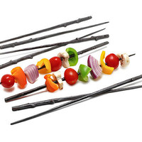 CAST IRON TWIG SKEWERS - SET OF 8 | Realistic Metal Replicas of Wood Sticks for Outdoor Grilling, Camping | UncommonGoods