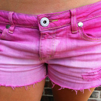 Pink Ombre Dip Dyed Destroyed Denim Shorts