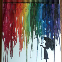 Girl in Rain Melted Crayon Art Painting