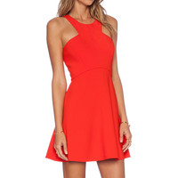 NBD x Naven Believe Me Skater Dress in Poppy Red