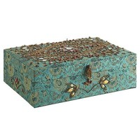 Beaded & Brocade Jewelry Box - Teal