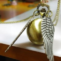 Enchanted Golden Snitch WATCH necklace siver Double sided wings harry potter-Deathly Hallows