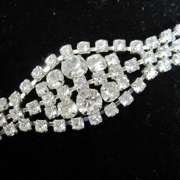 Striking & Sparkling Mad Men Rhinestone Evening Bracelet - 1950's - shipping included
