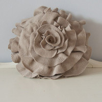 Wool Ruffle Rose Pillow in soft neutral oatmeal. Eco friendly recycled materials.