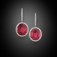 Tourmaline and Diamond Dangle Earrings