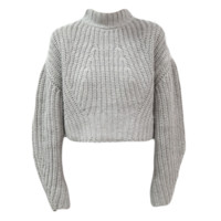 Knit Cropped Lantern Sweater