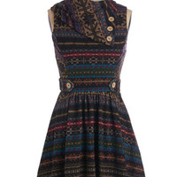 ModCloth Short Length A-line Coach Tour Dress in Fair Isle