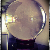 "Large Quartz Crystal Ball 6"" Diameter, Wicca, Pagan, Divination, Scrying, Occult"