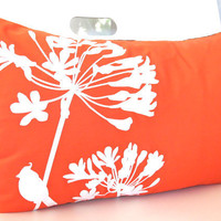Orange Print Cardinal on Agapanthus Rectangle Pillow