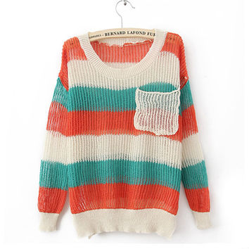 Colorful Rainbow Stripes Poket Sweater$38.00