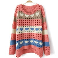 Love  Hollow Pink Ssweater$38.00