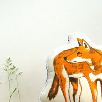 Cloth Wolf Toy. Ethiopian Wolf. Hand Drawn Organic Cotton African Animal Toy by TheHandmadeClassroom
