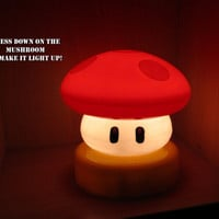 Super Mario Brothers RED Power up Mushroom SMALL Touch Lamp Night Light - nes Retro Video Game Geek Housewares