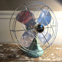 Eskimo Oscillating Fan Aqua Fan Turquoise Decor Vintage Fan