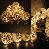 20 Natural White Handmade Rattan Balls Fairy String Lights Party Wedding Patio