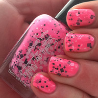 Nail polish - &quot;Flurocious&quot; black and white glitter in a neon pink base