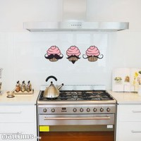 Mustache Cupcakes Wall Art Decal Sticker