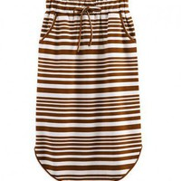 Vintage Stripe Print Skirt with Curved Hem