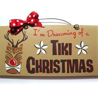 Christmas sign. Tiki Christmas reindeer. by DiamondDustDesigns