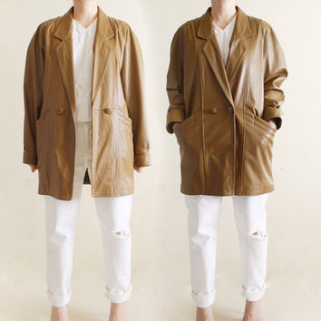 Vintage Soft Leather Boyfriend Jacket Long Sleeve Collar Outerwear Jacket size S/M from R+E