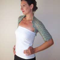 Grey WEDDING BOLERO SHRUG / Lace Wedding Shrug Bolero / Grey Crochet Bolero Shrug / Lace Crochet Bolero Jacket / Wedding Bolero Jacket