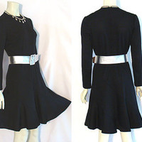 1970s Vintage Dress with Silver Leather Belt