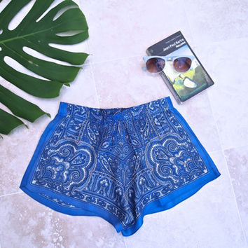 Paisley Patterned Blue Summer Shorts Size XS Handmade