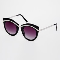 ASOS Metal Round Sunglasses With Built Up Highbrow at asos.com