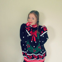 Vintage Wreathe & Bows Ugly Christmas Party Sweater