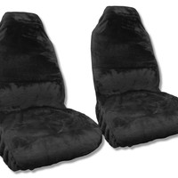 Black Faux Sheepskin Seat Cover Pair - Soft Plush Synthetic Wool Bucket Seat Covers