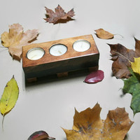 Wood Tea Light Candle Holder - Rustic Wood Candle Holder Holds 3 White Tealights