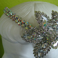 Rhinestone Wedding headpeice tiara headband veil facinator veil bling tastic