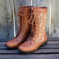 sweet lacy combat boots in cognac boots boot bootie booties women's fall winter fashion brown tan rustic bohemian lace southern country