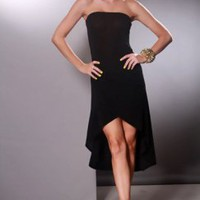 Black Strapless High Low Hem Sexy Party Dress