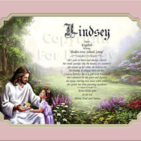 Christ With Girl Name Personalized Gift Keepsake and Remembrance