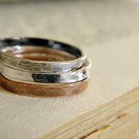 Silver & Copper Hammered Stacking Rings - Set of 3