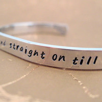 Peter Pan Bracelet - Second Star to the Right - Hand Stamped Aluminum Cuff - customizable