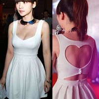 Fabulous Sweet Heart Shape Backless Summer White Dress. Party Dress