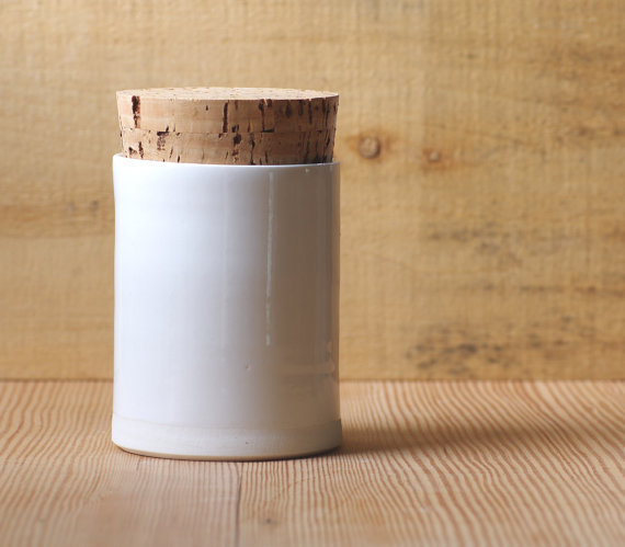 porcelain small canister white tall jar with jumbo cork lid modern minimal pottery ceramic