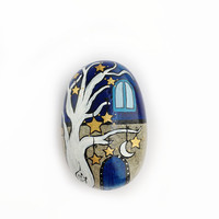 Starry night paperweight, handpainted stone house, decor idea for the home and the office