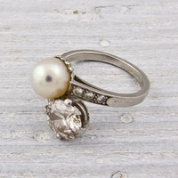 1.40 Transitional-Cut Diamond and Pearl Crossover Engagement Ring | Shop | Erstwhile Jewelry Co.