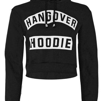 Hangover Hoodie Print Hooded Cropped Sweatshirt in Black | ChiaraFashion