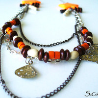 FREE SHIPPING Fashion Beaded Orange Necklace