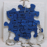 Friendship puzzle key chains Blue with Quartzite stones Set of 5 linking key chains