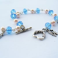 FREE SHIPPING Blue Swarovski Bracelet