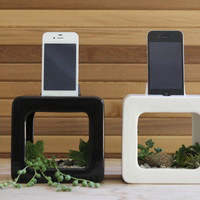 The Bloombox iPhone Dock, Planter, and Sound Amplifier