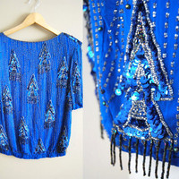 Blinged Up Blue Bird - Vintage 80s Sequin Beaded Trophy Shirt Tassels Fringe