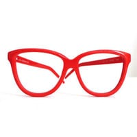 Red Vintage Sunglasses, Pop Mod Huge Wayfarer Style by Liz Claiborne Eyeglasses, NOS, New List Sale
