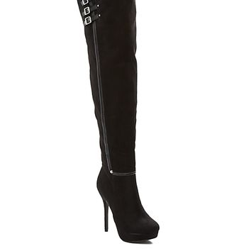 Buckled Faux Suede Stiletto Over-The-Knee Boot