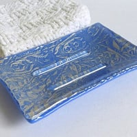 Fused Glass Soap Dish in Silver and Cobalt Blue